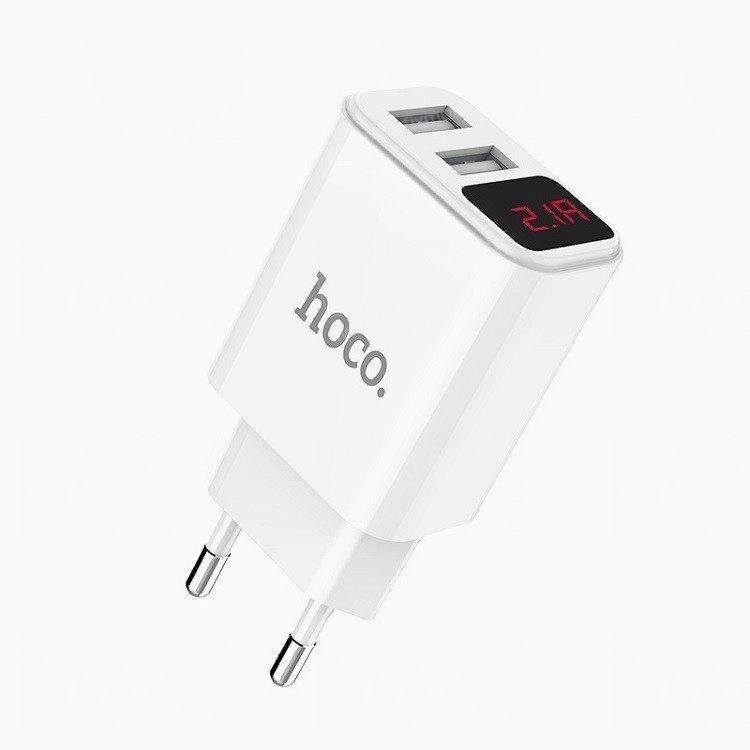 Сетевое зарядное устройство HOCO C63A Victoria 2USB (белое)